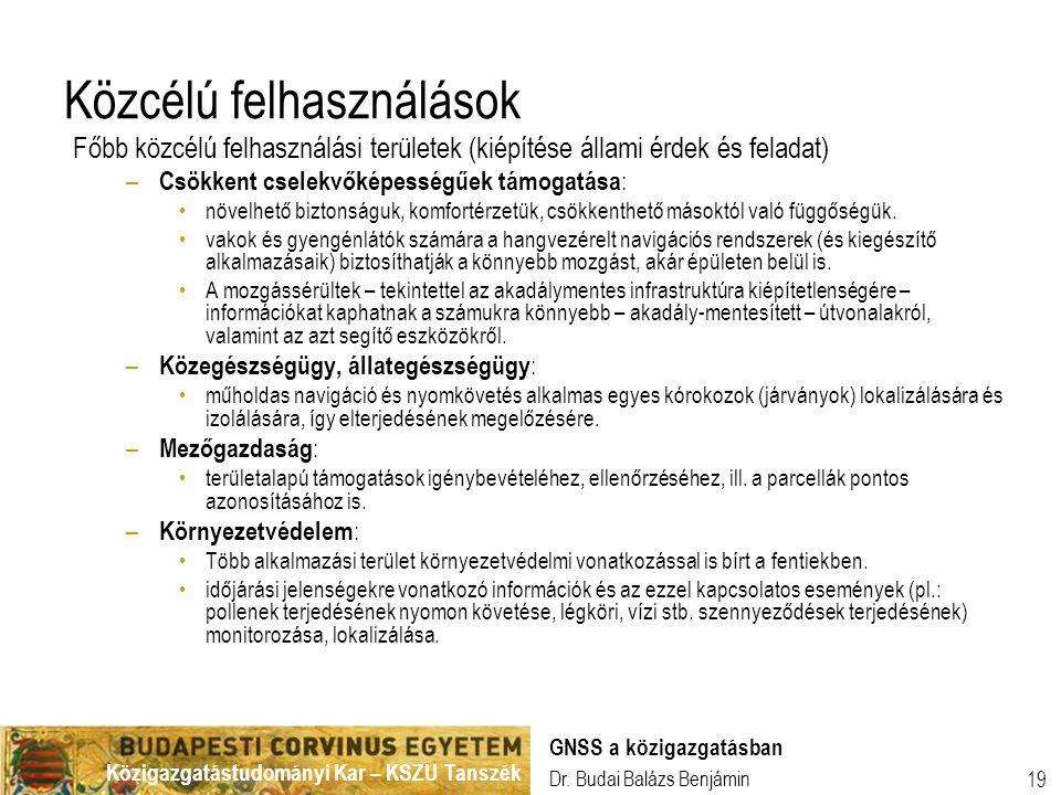 Közigazgatástudományi Kar – KSZU Tanszék Dr. Budai Balázs Benjámin GNSS a közigazgatásban 19 Közcélú felhasználások Főbb közcélú felhasználási terület