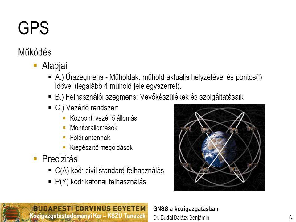 Közigazgatástudományi Kar – KSZU Tanszék Dr. Budai Balázs Benjámin GNSS a közigazgatásban 6 GPS Működés  Alapjai  A.) Űrszegmens - Műholdak: műhold