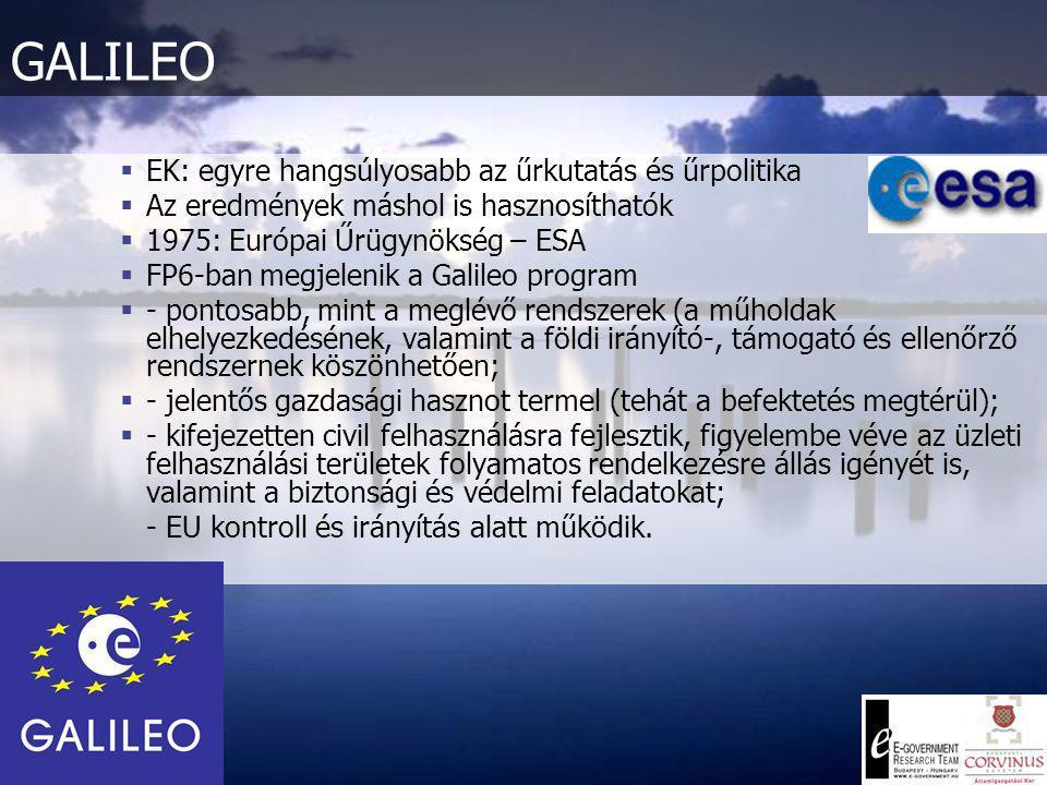 EGNOS  GALILEO előfutára  Kiegészítő rendszer:  3 műhold  34 megfigyelő állomás  4 ellenőrző központ  Kritikus biztonságot igénylő (légi, tengerészeti) felhasználásokhoz