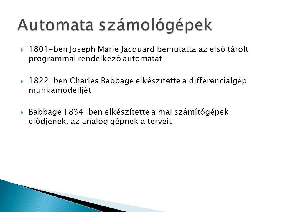  1801-ben Joseph Marie Jacquard bemutatta az első tárolt programmal rendelkező automatát  1822-ben Charles Babbage elkészítette a differenciálgép mu