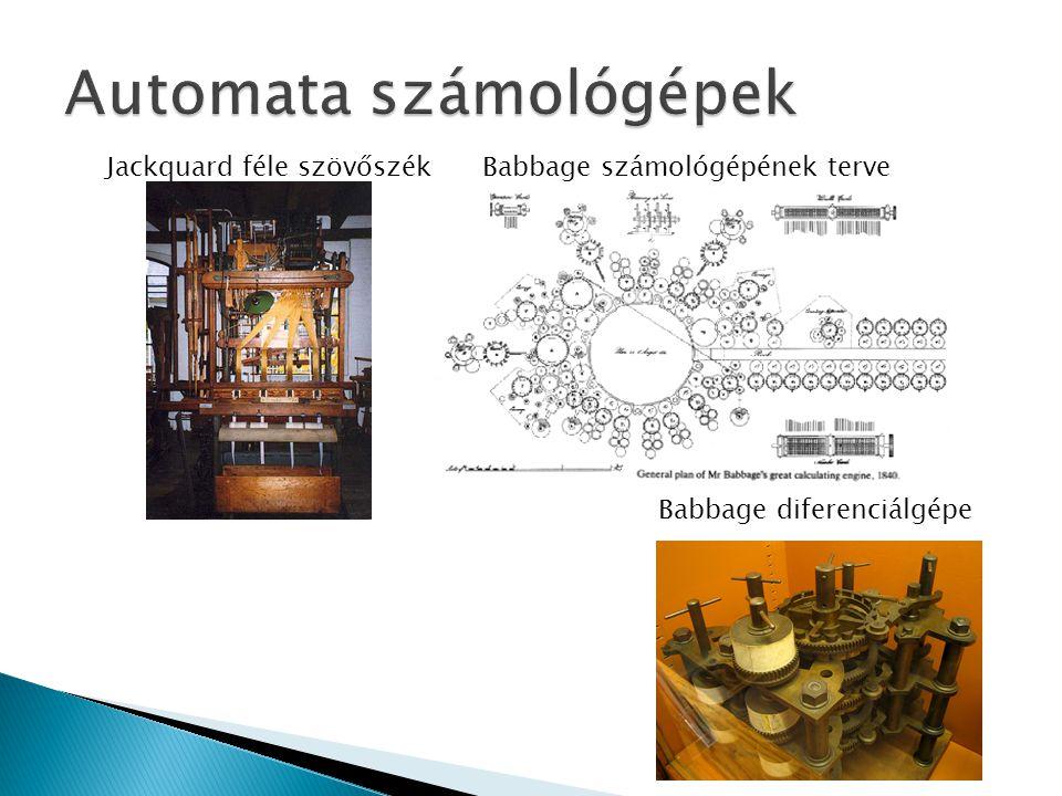 Jackquard féle szövőszék Babbage számológépének terve Babbage diferenciálgépe
