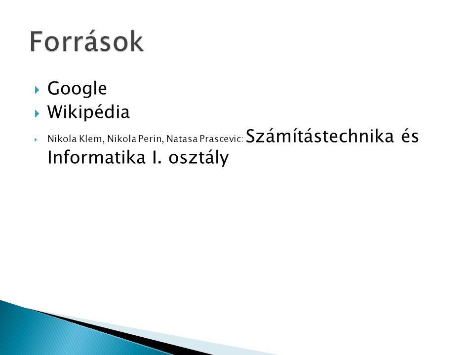  Google  Wikipédia  Nikola Klem, Nikola Perin, Natasa Prascevic: Számítástechnika és Informatika I. osztály
