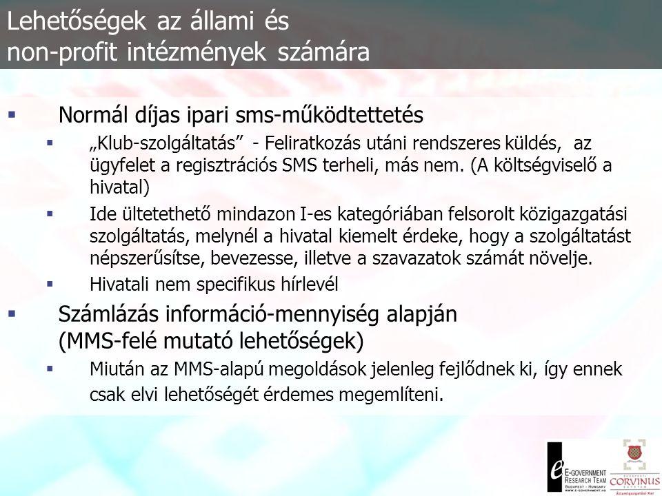 Lehetőségek az állami és non-profit intézmények számára  Emelt díjas SMS az hivatalok szolgálatában.