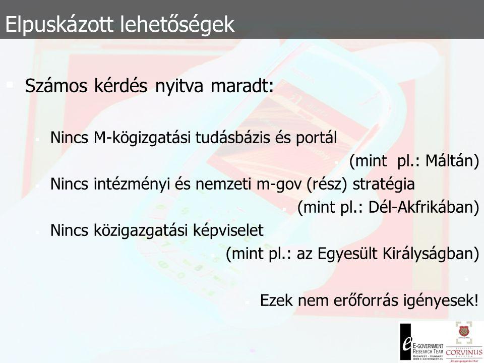  Megoszló teljesítmény a helyi és a központi igazgatás között:  Települések: m-demokratikus eszközök, egyirányú interakció (szavazások, információ-l