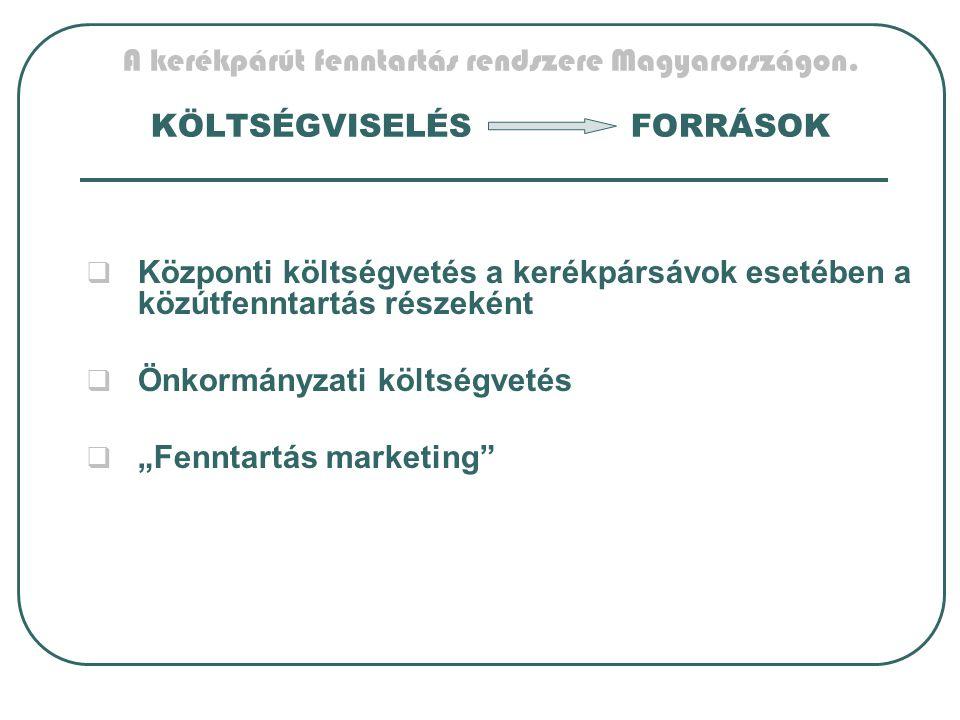 A kerékpárút fenntartás rendszere Magyarországon. KÖLTSÉGVISELÉSFORRÁSOK  Központi költségvetés a kerékpársávok esetében a közútfenntartás részeként