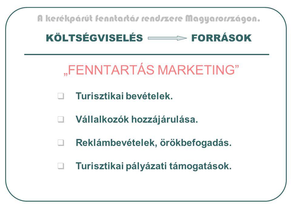 """A kerékpárút fenntartás rendszere Magyarországon. KÖLTSÉGVISELÉSFORRÁSOK """"FENNTARTÁS MARKETING""""  Turisztikai bevételek.  Vállalkozók hozzájárulása."""