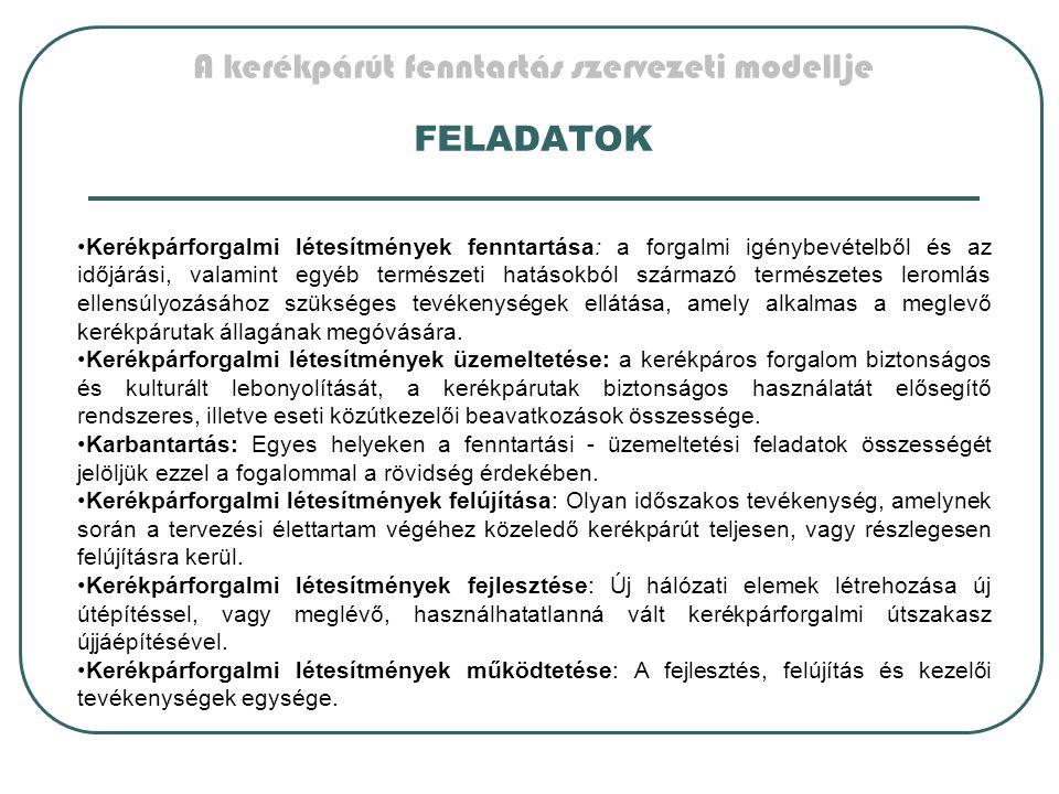 A kerékpárút fenntartás szervezeti modellje FELADATOK Kerékpárforgalmi létesítmények fenntartása: a forgalmi igénybevételből és az időjárási, valamint
