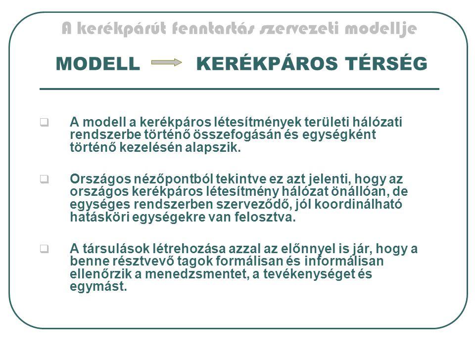 A kerékpárút fenntartás szervezeti modellje MODELL KERÉKPÁROS TÉRSÉG  A modell a kerékpáros létesítmények területi hálózati rendszerbe történő összefogásán és egységként történő kezelésén alapszik.
