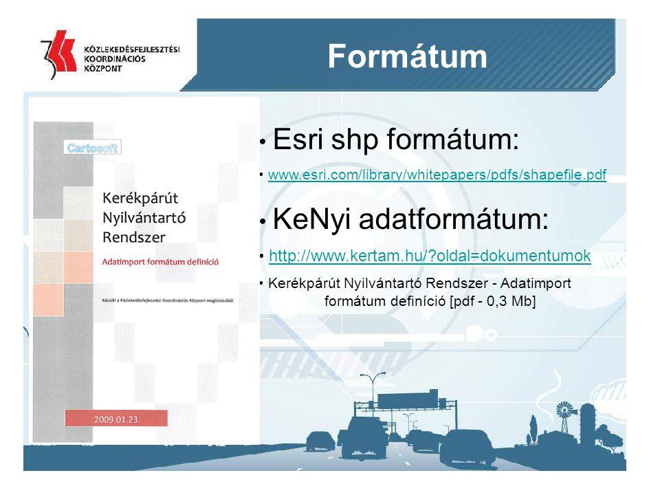2014. 09. 11.10 Formátum Esri shp formátum: www.esri.com/library/whitepapers/pdfs/shapefile.pdf KeNyi adatformátum: http://www.kertam.hu/?oldal=dokume