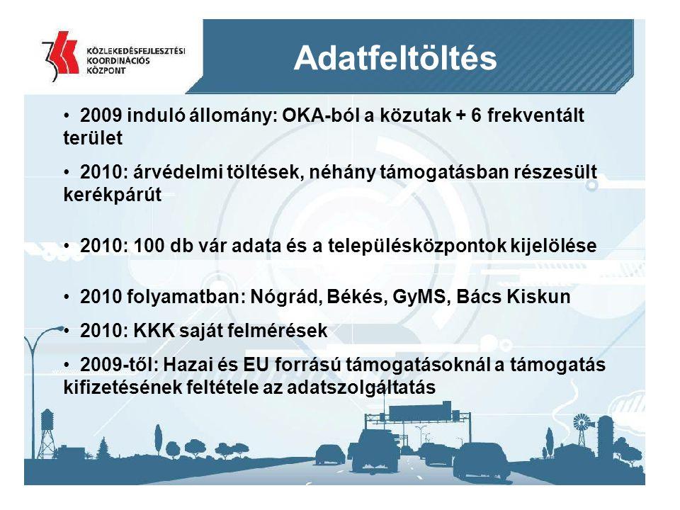 2014. 09. 11.12 Adatfeltöltés 2009 induló állomány: OKA-ból a közutak + 6 frekventált terület 2010: árvédelmi töltések, néhány támogatásban részesült