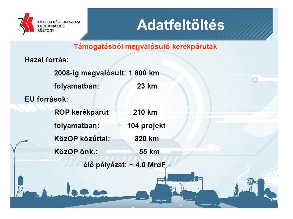 2014. 09. 11.13 Adatfeltöltés Támogatásból megvalósuló kerékpárutak Hazai forrás: 2008-ig megvalósult: 1 800 km folyamatban: 23 km EU források: ROP ke