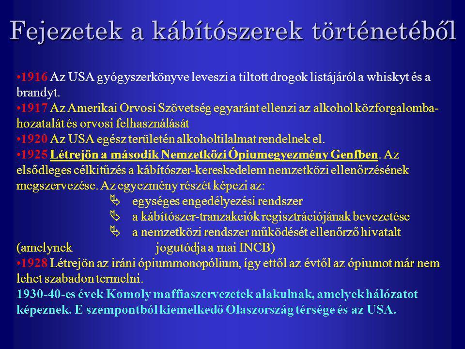 Fejezetek a kábítószerek történetéből 1916 Az USA gyógyszerkönyve leveszi a tiltott drogok listájáról a whiskyt és a brandyt. 1917 Az Amerikai Orvosi