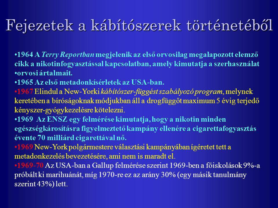 Fejezetek a kábítószerek történetéből 1964 A Terry Reportban megjelenik az első orvosilag megalapozott elemző cikk a nikotinfogyasztással kapcsolatban