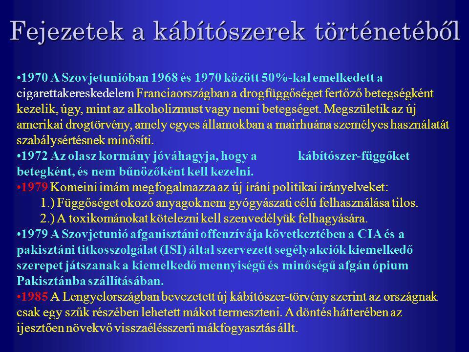Fejezetek a kábítószerek történetéből 1970 A Szovjetunióban 1968 és 1970 között 50%-kal emelkedett a cigarettakereskedelem Franciaországban a drogfügg