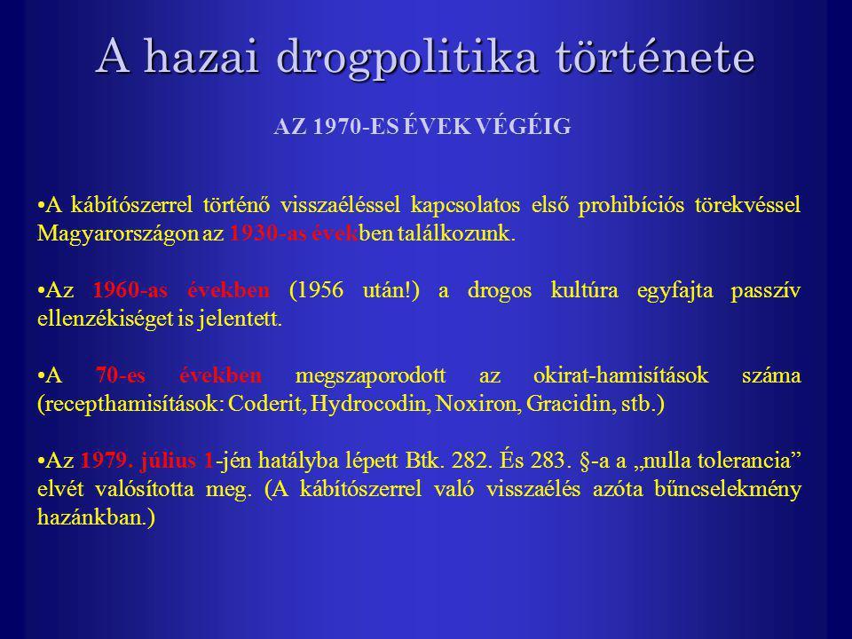 A hazai drogpolitika története A kábítószerrel történő visszaéléssel kapcsolatos első prohibíciós törekvéssel Magyarországon az 1930-as években találk