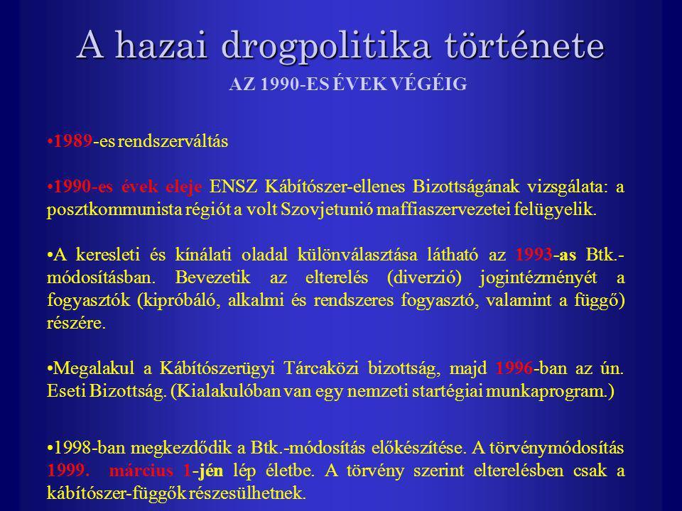 A hazai drogpolitika története 1989-es rendszerváltás 1990-es évek eleje ENSZ Kábítószer-ellenes Bizottságának vizsgálata: a posztkommunista régiót a