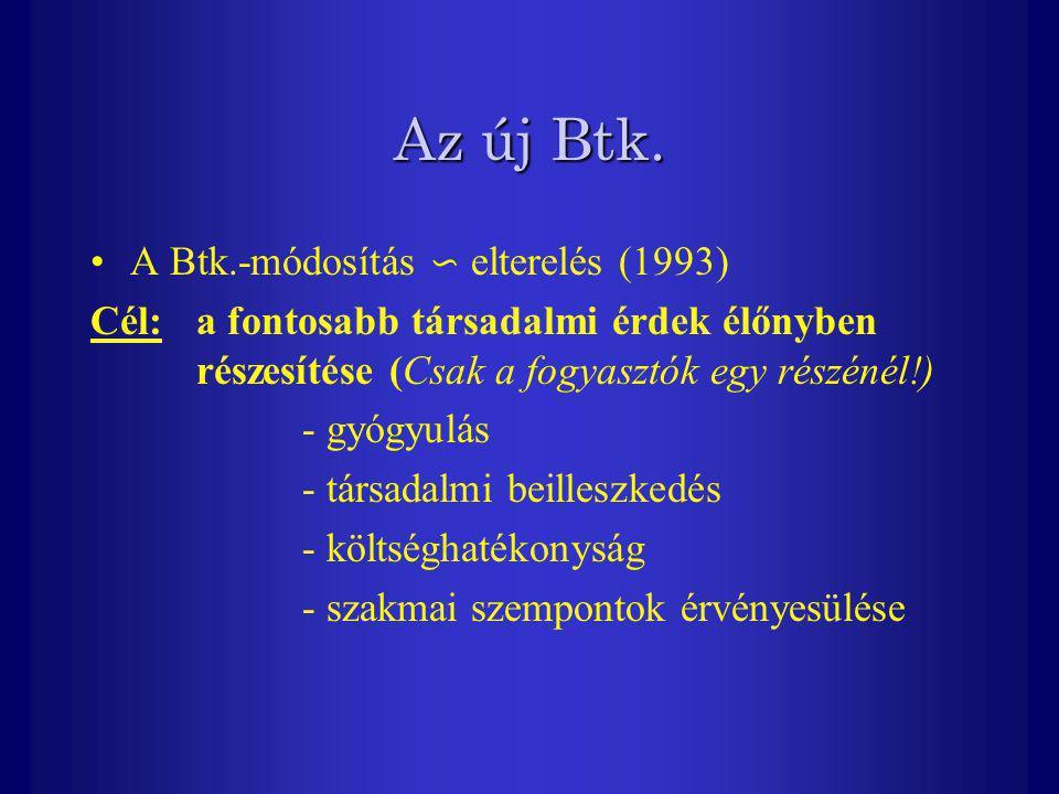 Az új Btk. A Btk.-módosítás ∽ elterelés (1993) Cél: a fontosabb társadalmi érdek élőnyben részesítése (Csak a fogyasztók egy részénél!) - gyógyulás -