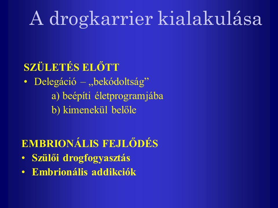 """A drogkarrier kialakulása SZÜLETÉS ELŐTT Delegáció – """"bekódoltság a) beépíti életprogramjába b) kimenekül belőle EMBRIONÁLIS FEJLŐDÉS Szülői drogfogyasztás Embrionális addikciók"""