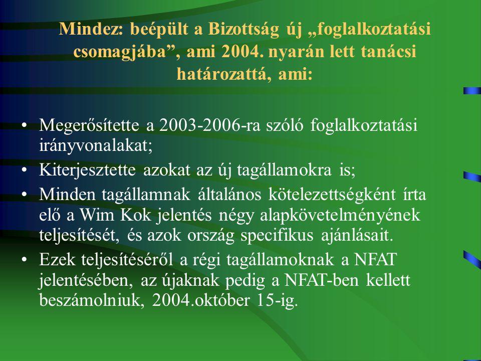 """Mindez: beépült a Bizottság új """"foglalkoztatási csomagjába , ami 2004."""