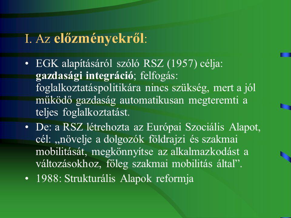 I. Az előzményekről : EGK alapításáról szóló RSZ (1957) célja: gazdasági integráció; felfogás: foglalkoztatáspolitikára nincs szükség, mert a jól műkö