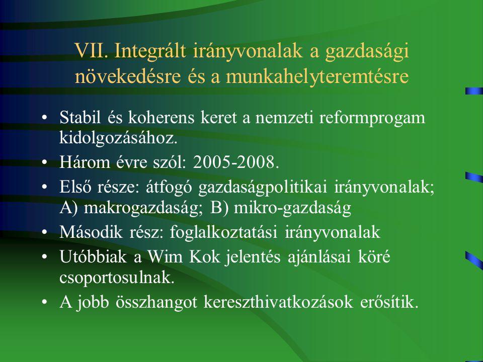 VII. Integrált irányvonalak a gazdasági növekedésre és a munkahelyteremtésre Stabil és koherens keret a nemzeti reformprogam kidolgozásához. Három évr