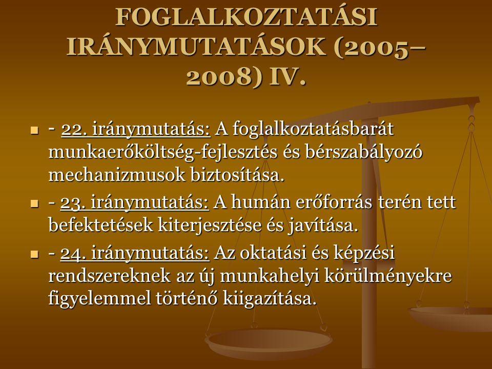 FOGLALKOZTATÁSI IRÁNYMUTATÁSOK (2005– 2008) IV. - 22. iránymutatás: A foglalkoztatásbarát munkaerőköltség-fejlesztés és bérszabályozó mechanizmusok bi