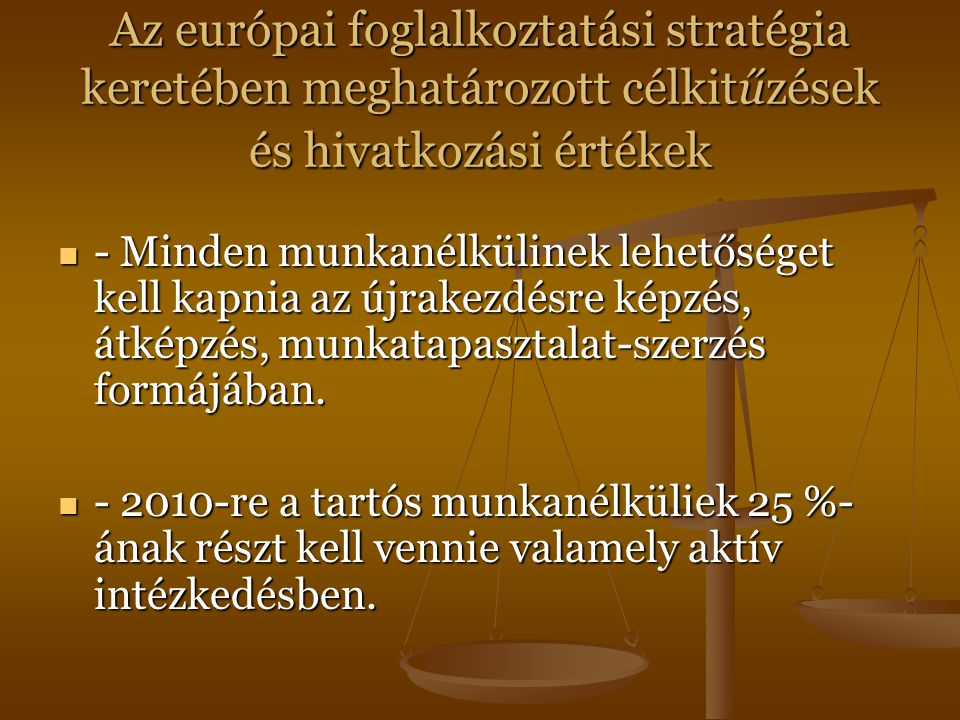 Az európai foglalkoztatási stratégia keretében meghatározott célkitűzések és hivatkozási értékek - Minden munkanélkülinek lehetőséget kell kapnia az újrakezdésre képzés, átképzés, munkatapasztalat-szerzés formájában.