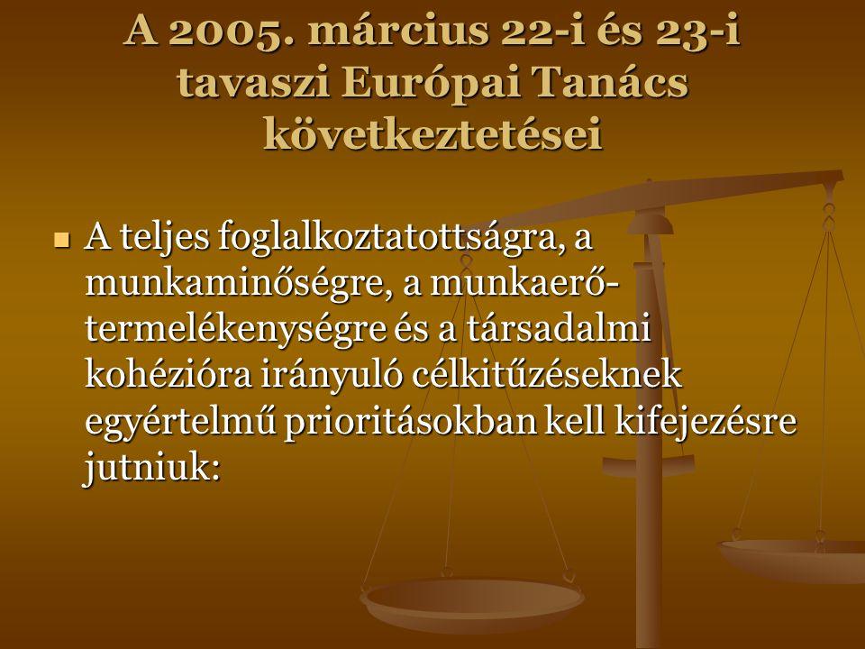 A 2005. március 22-i és 23-i tavaszi Európai Tanács következtetései A teljes foglalkoztatottságra, a munkaminőségre, a munkaerő- termelékenységre és a