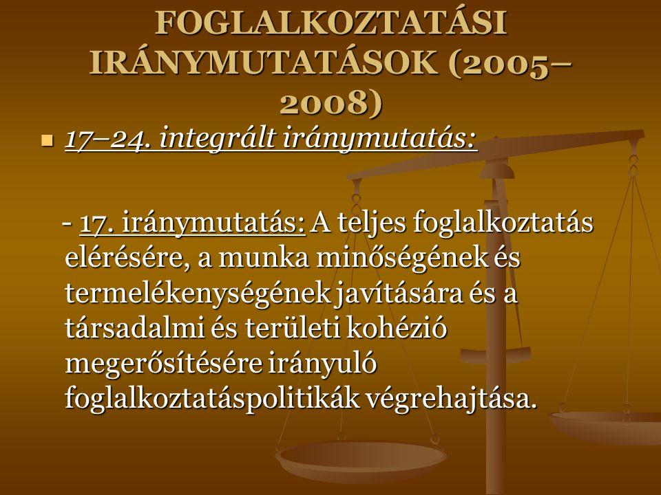 FOGLALKOZTATÁSI IRÁNYMUTATÁSOK (2005– 2008) 17–24. integrált iránymutatás: 17–24. integrált iránymutatás: - 17. iránymutatás: A teljes foglalkoztatás