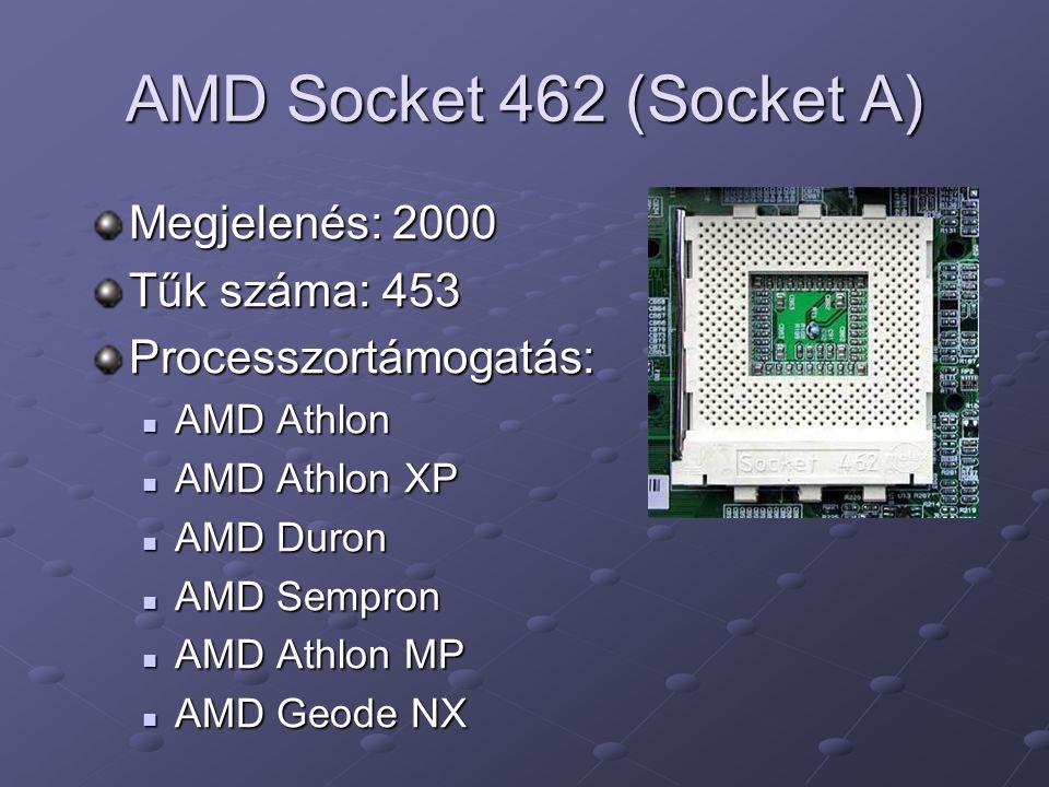 AMD Socket 462 (Socket A) Megjelenés: 2000 Tűk száma: 453 Processzortámogatás: AMD Athlon AMD Athlon AMD Athlon XP AMD Athlon XP AMD Duron AMD Duron A