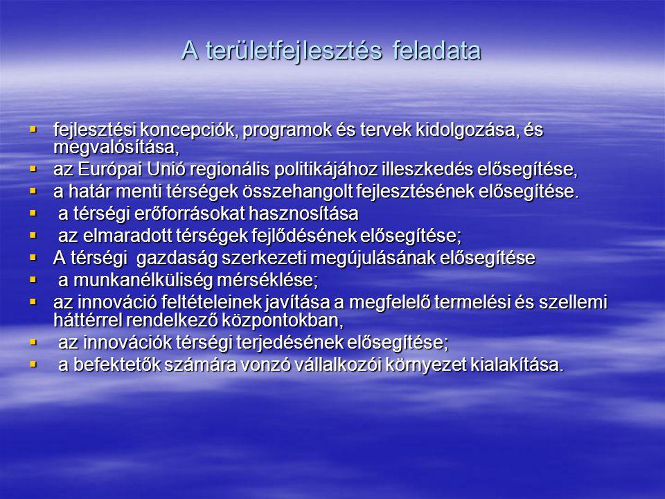A területfejlesztés feladata  fejlesztési koncepciók, programok és tervek kidolgozása, és megvalósítása,  az Európai Unió regionális politikájához illeszkedés elősegítése,  a határ menti térségek összehangolt fejlesztésének elősegítése.