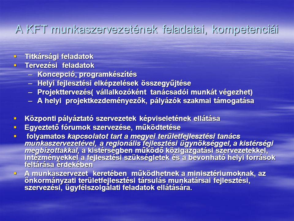 A KFT munkaszervezetének feladatai, kompetenciái  Titkársági feladatok  Tervezési feladatok –Koncepció, programkészítés –Helyi fejlesztési elképzelések összegyűjtése –Projekttervezés( vállalkozóként tanácsadói munkát végezhet) –A helyi projektkezdeményezők, pályázók szakmai támogatása  Központi pályáztató szervezetek képviseletének ellátása  Egyeztető fórumok szervezése, működtetése  folyamatos kapcsolatot tart a megyei területfejlesztési tanács munkaszervezetével, a regionális fejlesztési ügynökséggel, a kistérségi megbízottakkal, a kistérségben működő közigazgatási szervezetekkel, intézményekkel a fejlesztési szükségletek és a bevonható helyi források feltárása érdekében  A munkaszervezet keretében működhetnek a minisztériumoknak, az önkormányzati területfejlesztési társulás munkatársai fejlesztési, szervezési, ügyfélszolgálati feladatok ellátására.