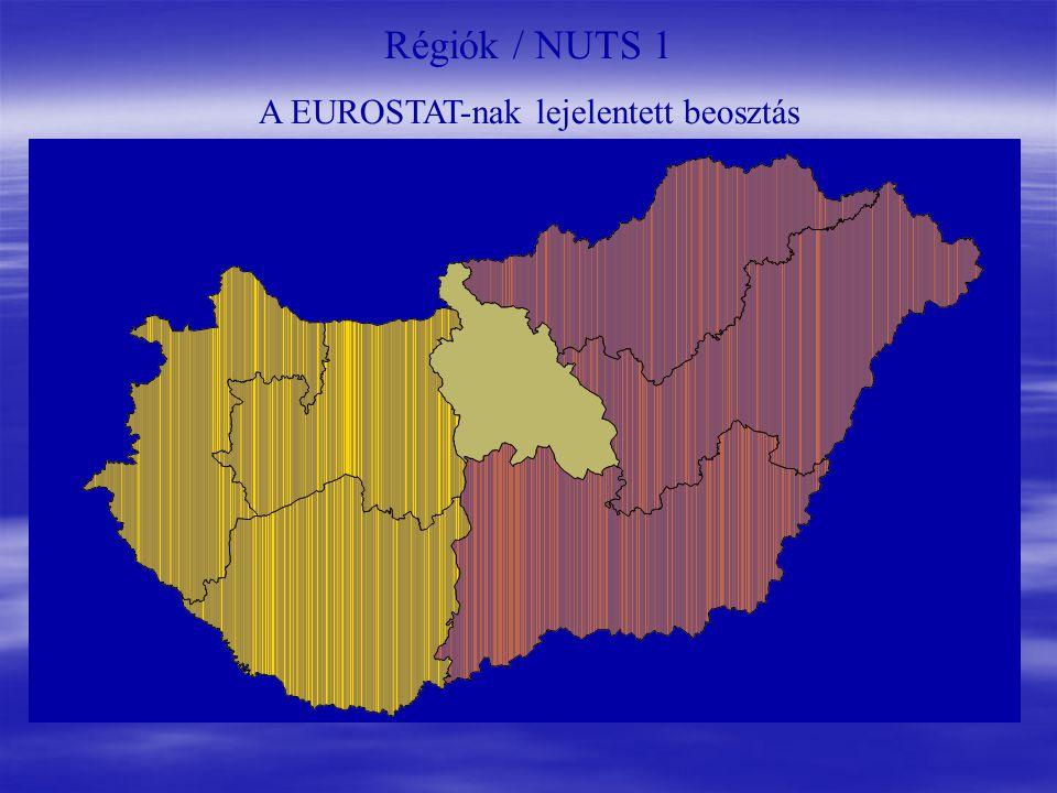 Régiók / NUTS 1 A EUROSTAT-nak lejelentett beosztás
