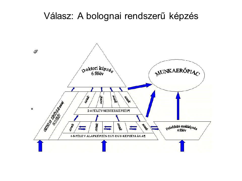 Válasz: A bolognai rendszerű képzés