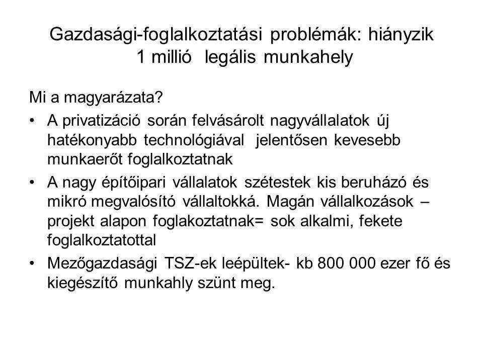 Gazdasági-foglalkoztatási problémák: hiányzik 1 millió legális munkahely Mi a magyarázata.