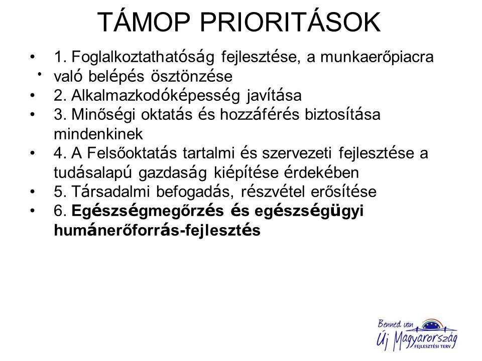 TIOP PRIORITÁSOK 1.Az oktatási infrastruktúra fejlesztése 2.