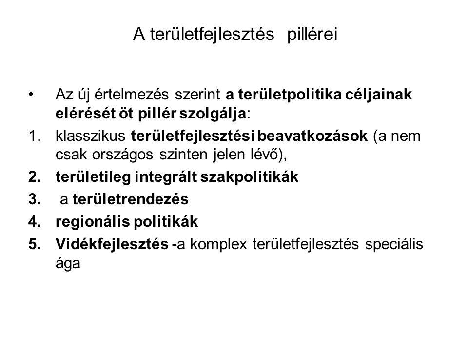 A területfejlesztés pillérei Az új értelmezés szerint a területpolitika céljainak elérését öt pillér szolgálja: 1.klasszikus területfejlesztési beavatkozások (a nem csak országos szinten jelen lévő), 2.területileg integrált szakpolitikák 3.