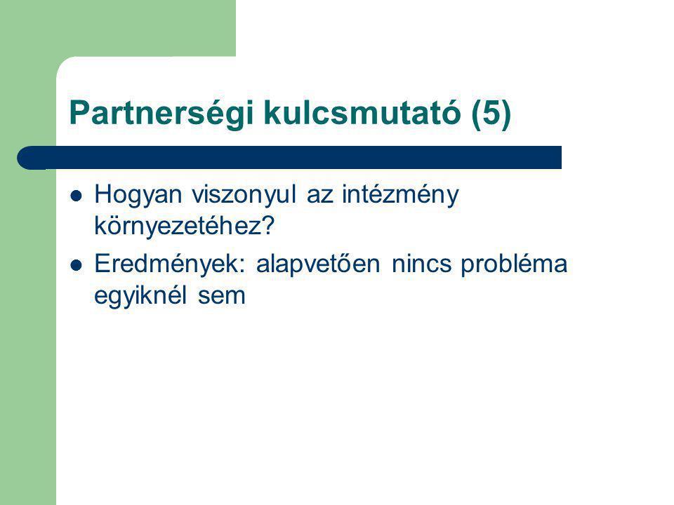 Partnerségi kulcsmutató (5) Hogyan viszonyul az intézmény környezetéhez? Eredmények: alapvetően nincs probléma egyiknél sem
