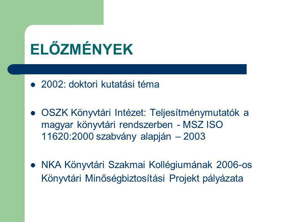 ELŐZMÉNYEK 2002: doktori kutatási téma OSZK Könyvtári Intézet: Teljesítménymutatók a magyar könyvtári rendszerben - MSZ ISO 11620:2000 szabvány alapján – 2003 NKA Könyvtári Szakmai Kollégiumának 2006-os Könyvtári Minőségbiztosítási Projekt pályázata