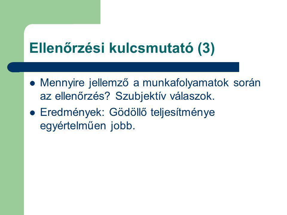Ellenőrzési kulcsmutató (3) Mennyire jellemző a munkafolyamatok során az ellenőrzés? Szubjektív válaszok. Eredmények: Gödöllő teljesítménye egyértelmű