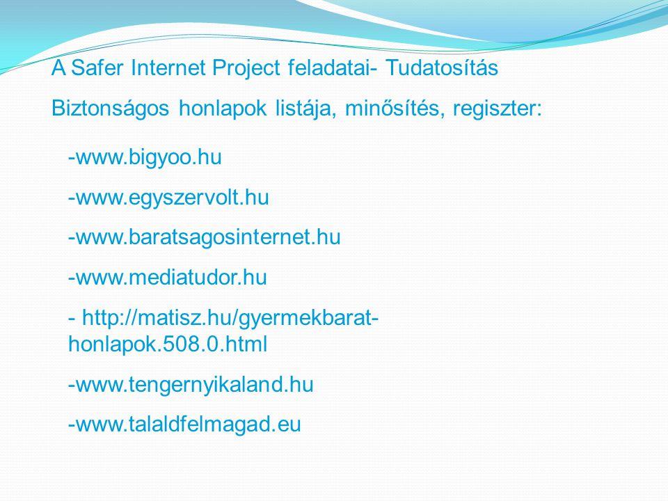 A Safer Internet Project feladatai- Tudatosítás Biztonságos honlapok listája, minősítés, regiszter: -www.bigyoo.hu -www.egyszervolt.hu -www.baratsagosinternet.hu -www.mediatudor.hu - http://matisz.hu/gyermekbarat- honlapok.508.0.html -www.tengernyikaland.hu -www.talaldfelmagad.eu
