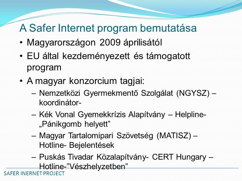SAFER INERNET PROJECT A Safer Internet program bemutatása Magyarországon 2009 áprilisától EU által kezdeményezett és támogatott program A magyar konzo