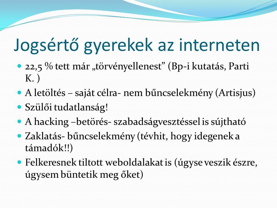 """Jogsértő gyerekek az interneten 22,5 % tett már """"törvényellenest"""" (Bp-i kutatás, Parti K. ) A letöltés – saját célra- nem bűncselekmény (Artisjus) Szü"""