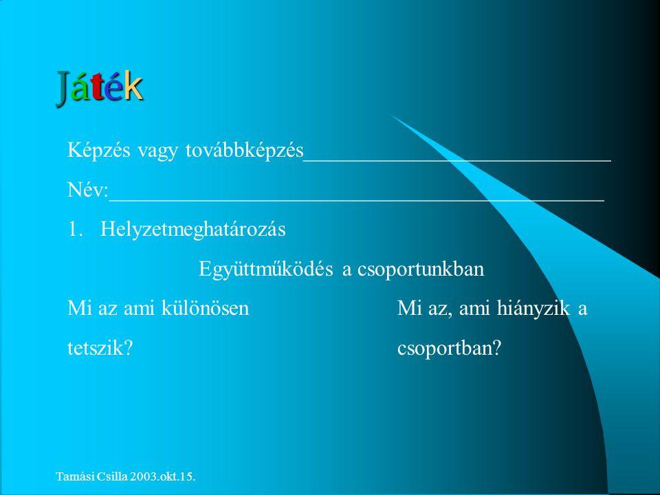 Tamási Csilla 2003.okt.15. Olvasószolgálati Kommunikáció.