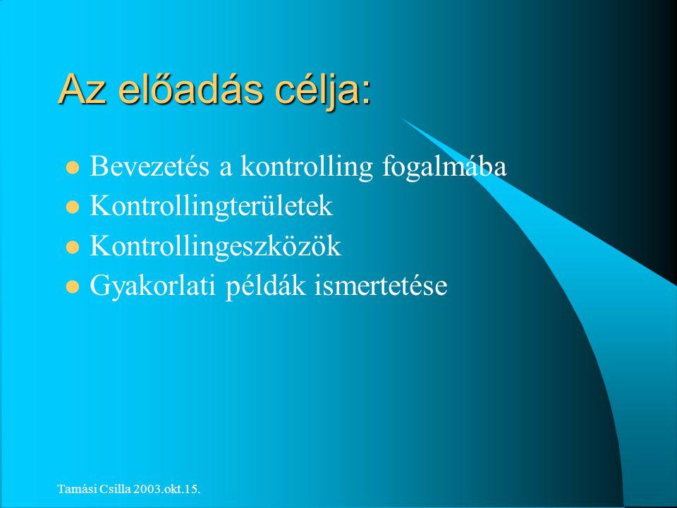 Tamási Csilla 2003.okt.15. Képzés és továbbképzés kontrollingja Dr.