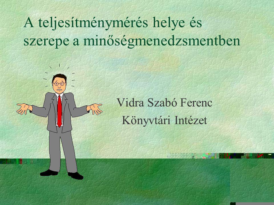 A teljesítménymérés helye és szerepe a minőségmenedzsmentben Vidra Szabó Ferenc Könyvtári Intézet
