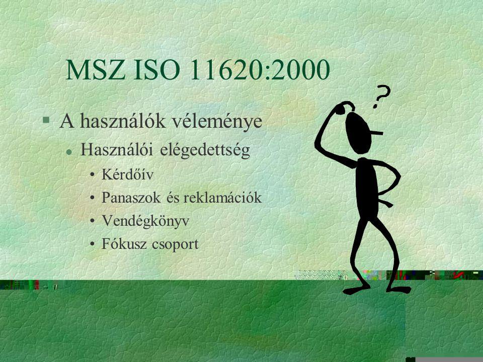 A könyvtári teljesítménymutatók §MSZ ISO 11620:2000 szabvány A használók véleménye Nyilvános szolgáltatások Állománygyarapítás és feldolgozás A szabvá