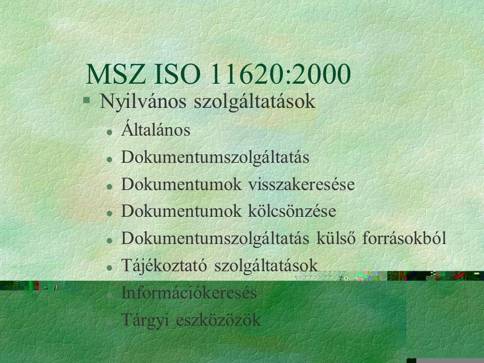 MSZ ISO 11620:2000 §A használók véleménye l Használói elégedettség Kérdőív Panaszok és reklamációk Vendégkönyv Fókusz csoport
