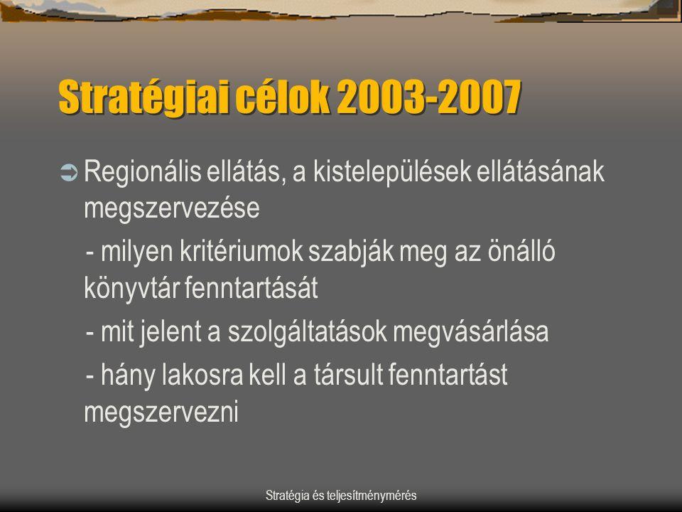 Stratégia és teljesítménymérés Stratégiai célok 2003-2007  Regionális ellátás, a kistelepülések ellátásának megszervezése - milyen kritériumok szabjá