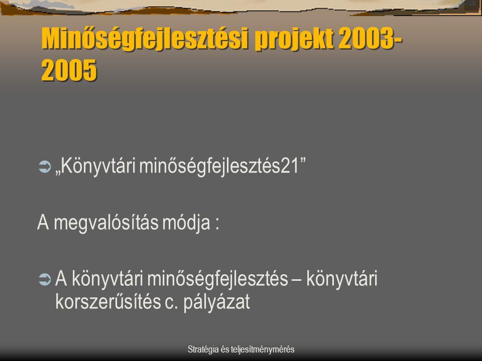"""Stratégia és teljesítménymérés Minőségfejlesztési projekt 2003- 2005  """"Könyvtári minőségfejlesztés21"""" A megvalósítás módja :  A könyvtári minőségfej"""
